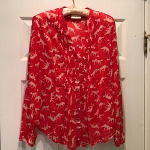 🆕Anthropologie Maeve leopard print pintuck blouse